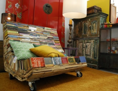 Found this amazing book chair on wheels via HarperCollins and Shelf Awareness: