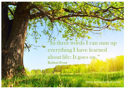 """In three words I can sum up everything I have learned about life: It goes on."" - IveMovedOn.com"