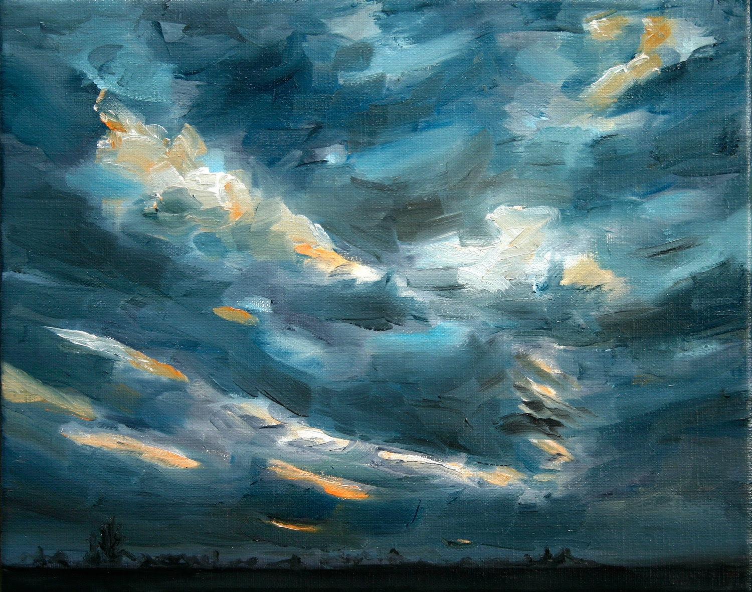Sky original oil painting Netherlands oil painting 30 x 40 cm - NancyvandenBoom