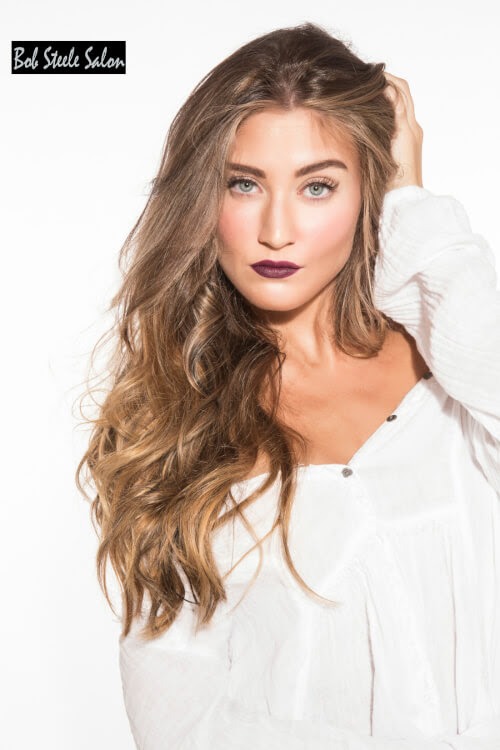 Cool blonde highlights on dark brown hair