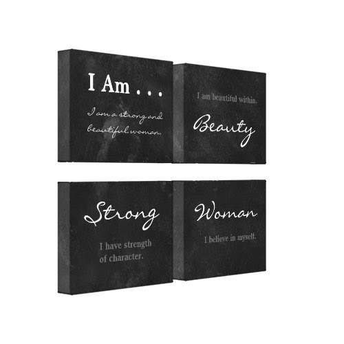 I Am Beautiful Strong Woman Blackboard Affirmation Gallery Wrapped Canvas