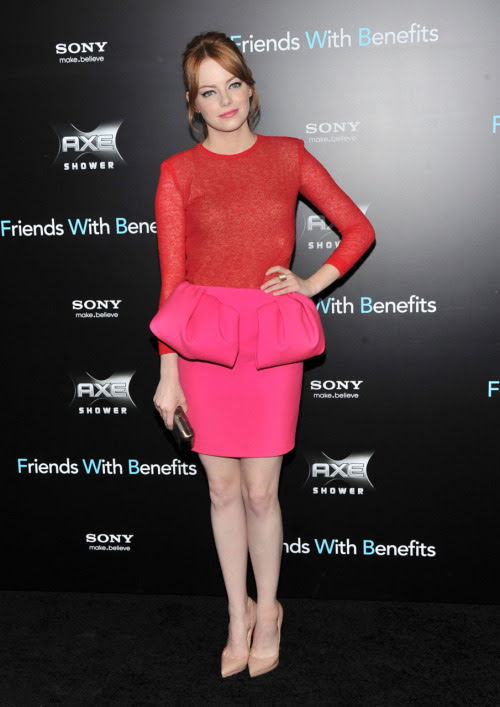 """Proof that fashion rules are made to be broken. Red and pink do clash, but can look haute. Love this. tmagazine:  Emma Stone looking pretty in Giambattista Valli pink and red at the """"Friends With Benefits"""" movie premiere. Stephen Lovekin/Getty Images"""