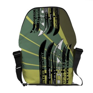 Ski Blade Winter Sport Stripe Army Messenger Bag