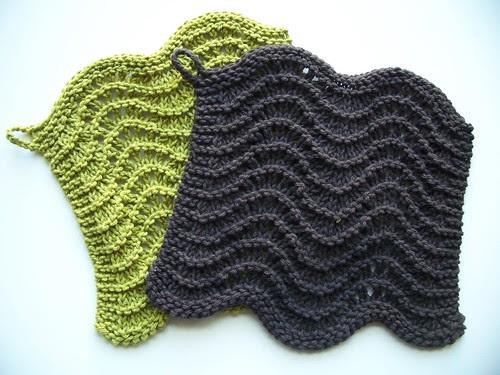 my feather & fan knit washcloths