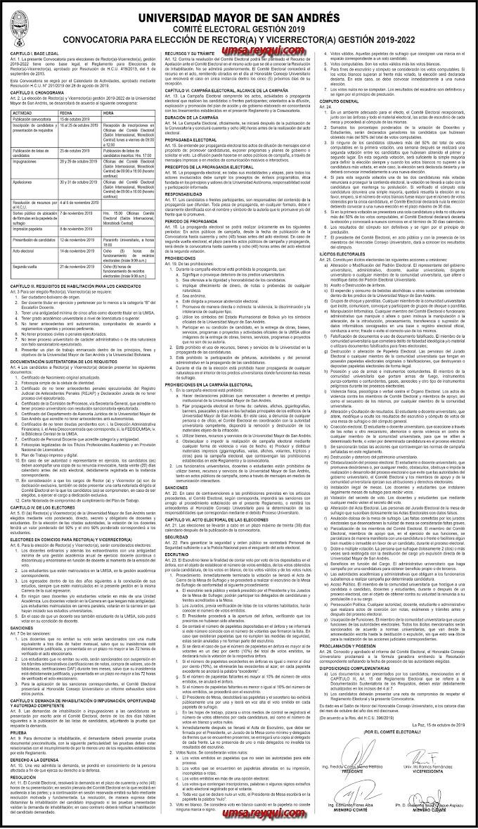 UMSA: Convocatoria para la Elección de Rector(a) y Vicerrector(a) Gestión 2019-2022
