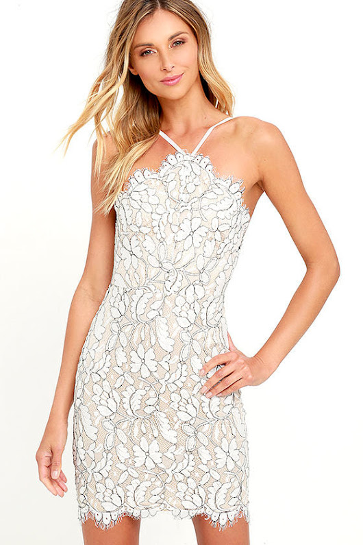 Midday Delight - DELICATE DARLING BEIGE AND IVORY LACE BODYCON DRESS
