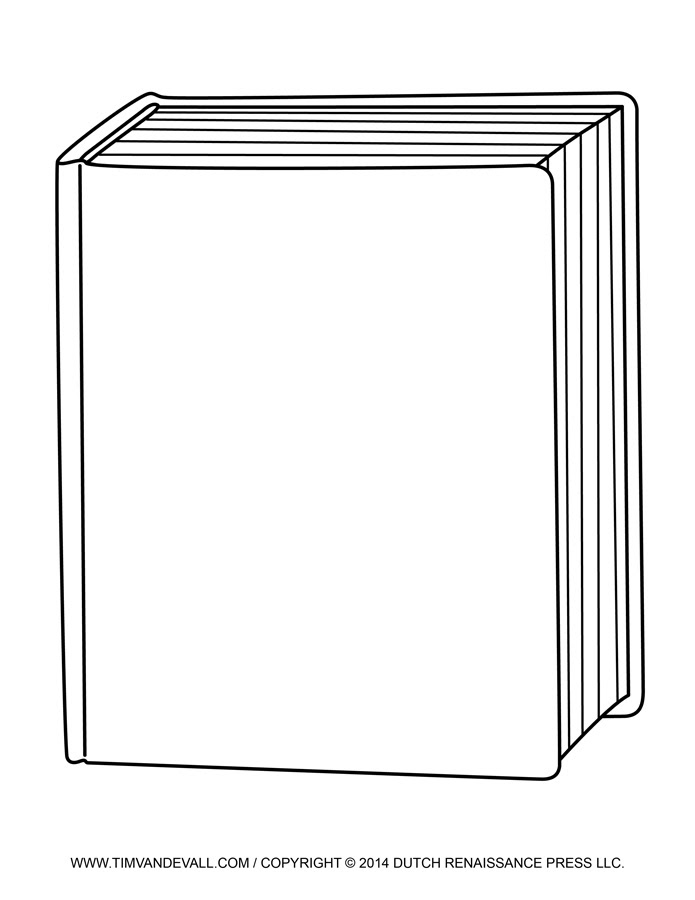 Free Blank Book Cover Template - Book Report & Reading Clip Art