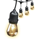 Feit Electric 30 Foot Weatherproof String LightS 10 Sockets 3 Foot APART 15 Incandescent Bulbs Included (72041)