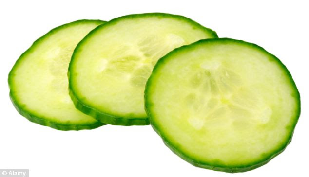 Cucumber, a well-known soothing remedy for tired and sore eyes, can also help bring relief to sore, sunburned skin because it contains vitamin C and caffeic acid (an antioxidant also found in coffee) which both have anti-inflammatory effects