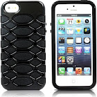 Aleratec Glossy Dual Layer Hard Case Black TPU/Black PC Cover for iPhone 5