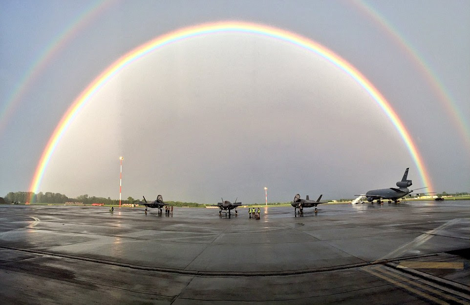 Everything went exactly as planned but the RAF could not claim credit for the rainbow