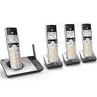 AT&T CL82407 DECT 6.0 Expandable Answering System with Smart Call Blocker, Silver/Black with 4 Handsets