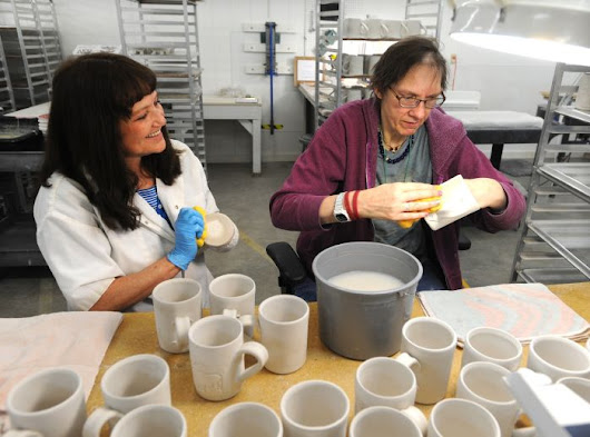 Shaping a resume: Clients with disabilities learn work skills at Cold Mountain Pottery