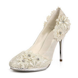 Women's Satin Stiletto Heel Closed Toe Platform Pumps With Rhinestone Satin Flower (047020106)