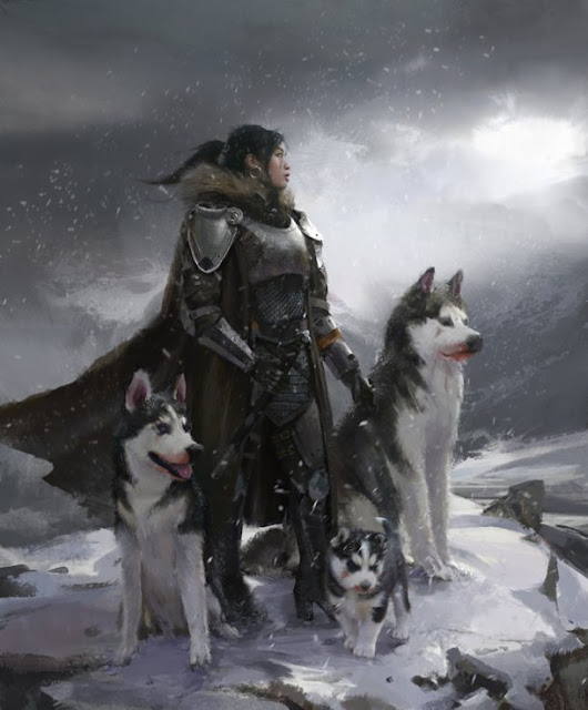 Mother of Huskies Fantasy Art by Steve Chinhsuan Wang