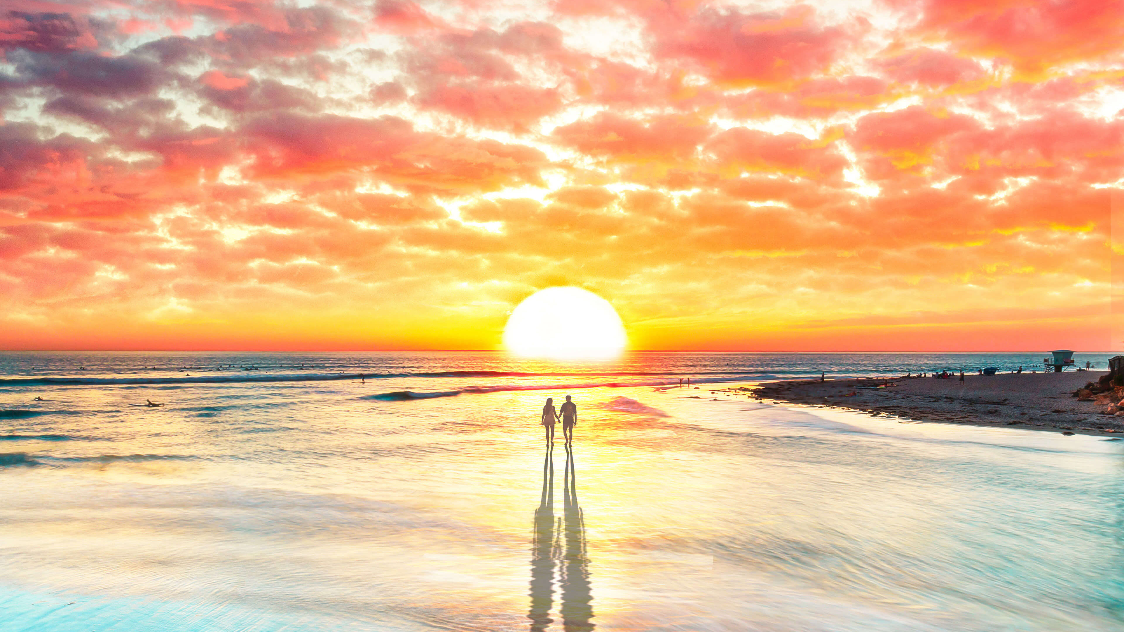 Beach Couple Watching Sunset 4k, HD Artist, 4k Wallpapers, Images, Backgrounds, Photos and Pictures