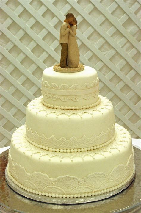 Elegant White Lace & Pearls Wedding Cake   CakeCentral.com