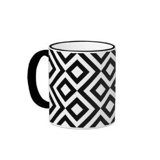 Black and White Meander Ringer Coffee Mug