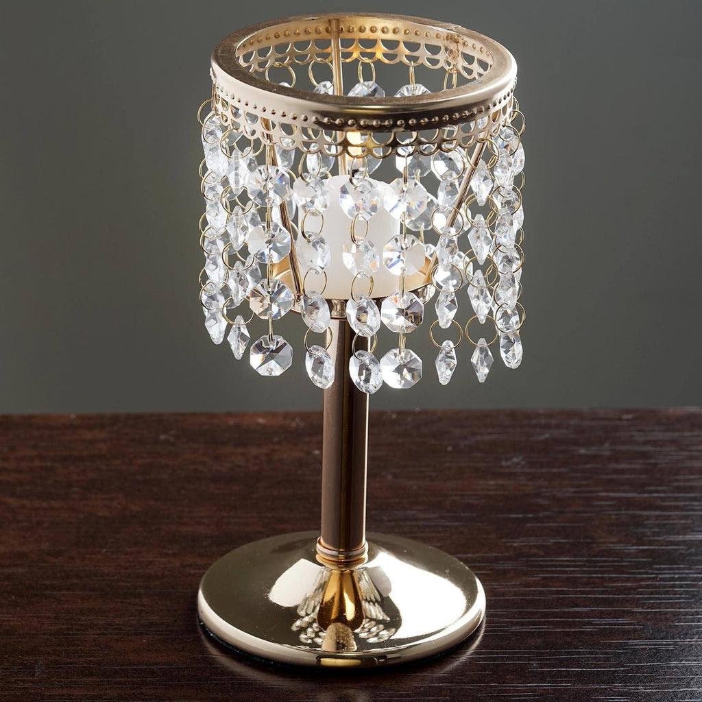 Elegant Metal Votive Tealight Crystal Candle Holder ...