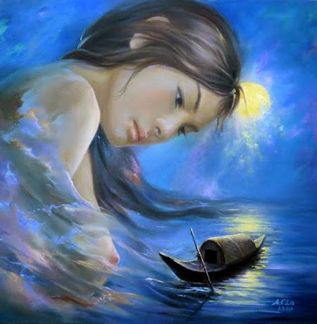 Đêm thanh vắng anh mới hát mấy câu Gió đưa văng vẳng đến lầu cô Mỵ Nương. Cô Mỵ Nương nghe tiếng hát thì thương..