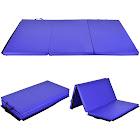 Gymax 6'x 4' Tri-Fold Gymnastics Mat Thick Folding Panel Gym Fitness Exercise Blue