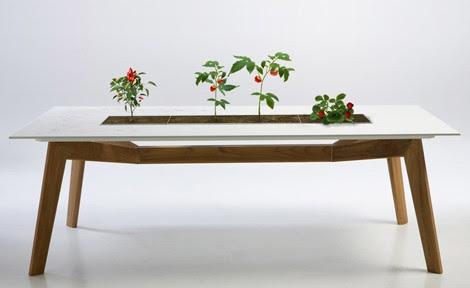 decoracion, diseño, idea,Rosis, mesa de exterior con jardinera