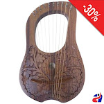Lyre Harp 10 Metal Strings Natural Flower with Free Bag and Key
