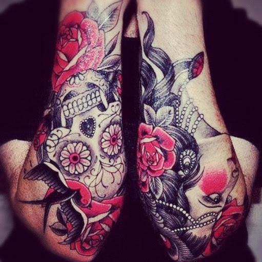 Pink Roses Skull Sleeve Tattoos Best Tattoo Design Ideas