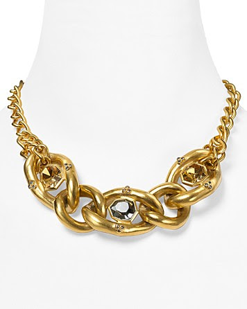 T Tahari On The Edge Gold Chain Link Multi-Stone Necklace