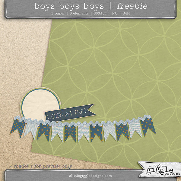 {Boys Boys Boys} Digital Scrapbooking Freebie Mini Kit
