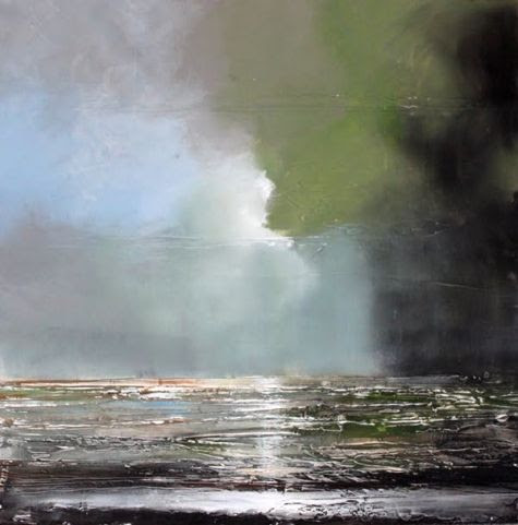 September 1 Sea Light Highly Textured Original Acrylic Painting 24x24 -- Toni Grote