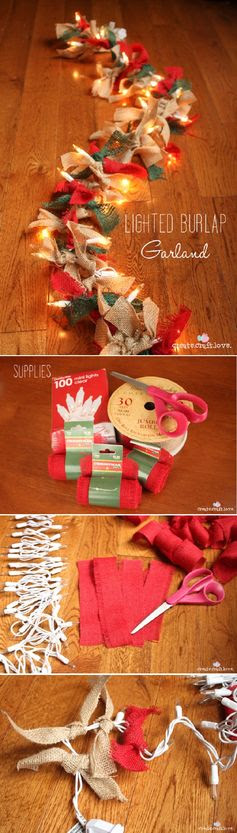 Lighted Burlap Garland - 20 Jaw-Dropping DIY Christmas Party Decorations   GleamItUp