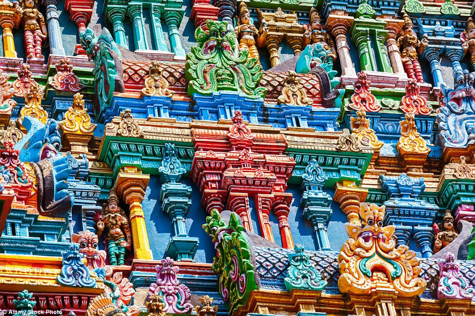 Between 15,000 and 25,000 people visit Madurai's Meenakshi-Sundareshwarar temple daily to be consecrated in marriage (with the promise of health, wealth and children)