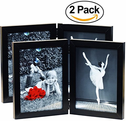2 Pack 5x7 Inch Hinged Dual Picture Wood Photo Frames With Glass