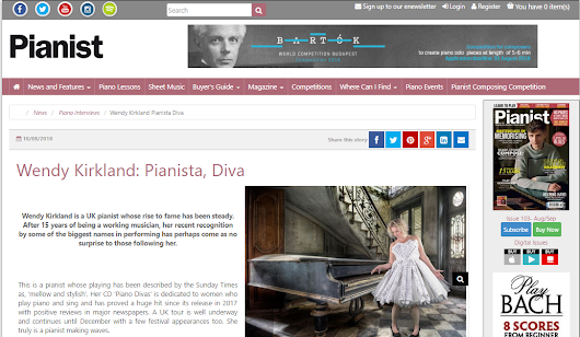 Pianist Magazine publishes article on Wendy Kirkland – 'Pianista, Diva!'