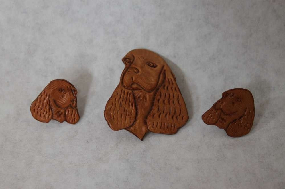 Vintage whimsical kitch figural 1960s 60s does 1940s 40s matching Dachshund head shaped brown leather dog brooch pin earrings set