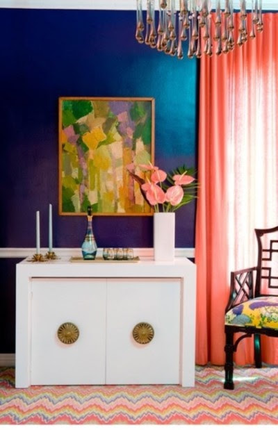 navy and coral bedroom - Google Search