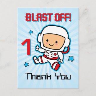 Blast Off 1st Birthday Postcard