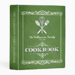 Vintage Green Chalkboard Family Cookbook Mini Binder