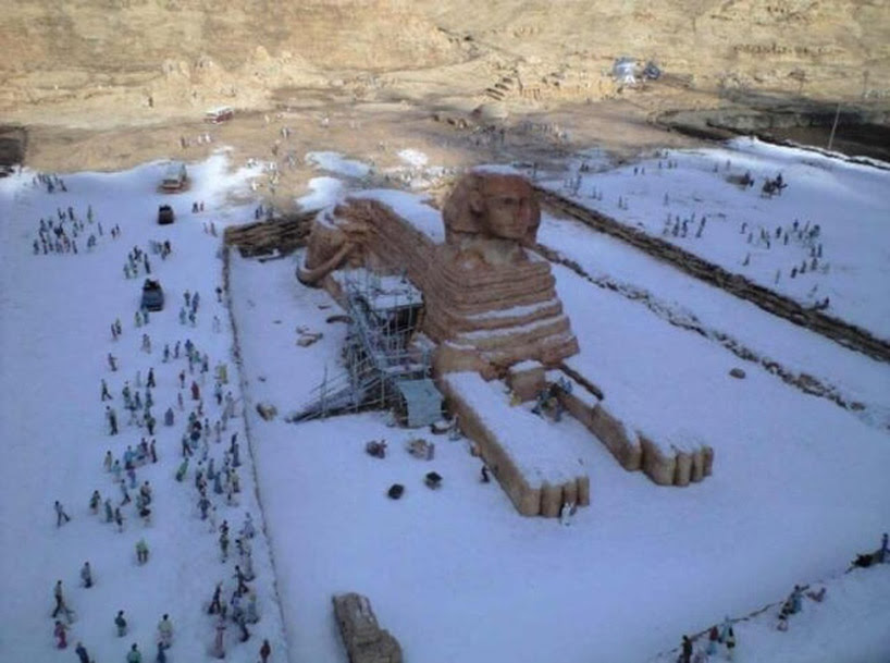 snow on sphinx for the first time in 112 years