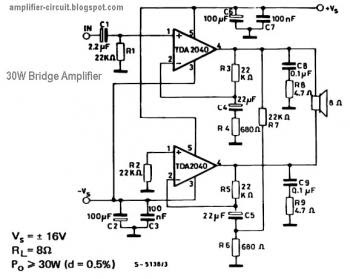 30w Bridge Amplifier Circuit Based