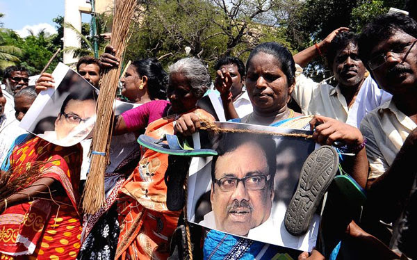 aiadmk workers protest