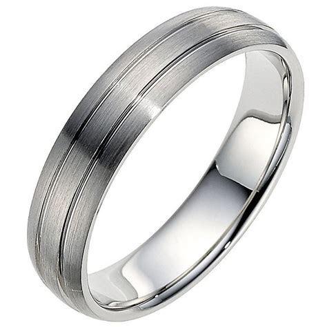Palladium 950 5mm twin groove matt ring   Mens wedding