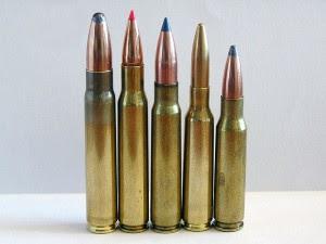 Da esquerda para a direita: 9.3×62mm, .30-06 Springfield, 7.92×57mm Mauser, 6.5×55mm and .308 Winchester.