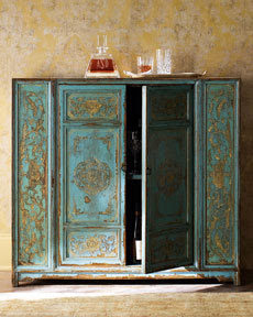 Hand-Painted Wood Cabinet