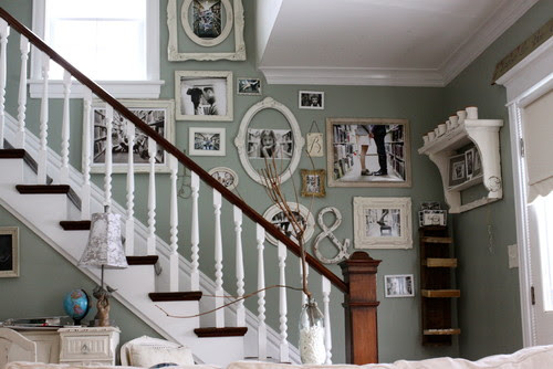 family photo wall eclectic staircase