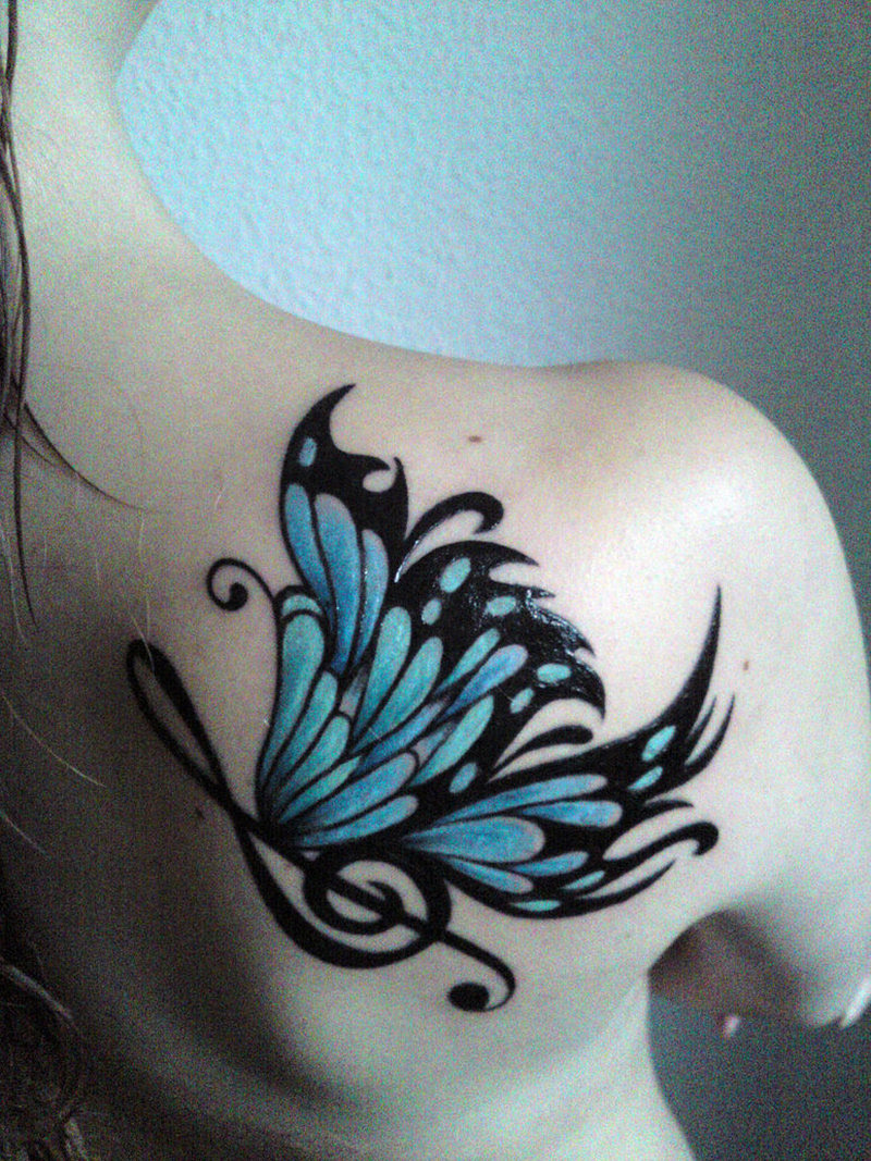 Blue Butterfly Tattoo On Back Shoulder Tattoos Book 65000