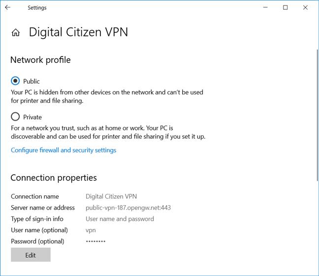 Editar una conexión VPN en Windows 10