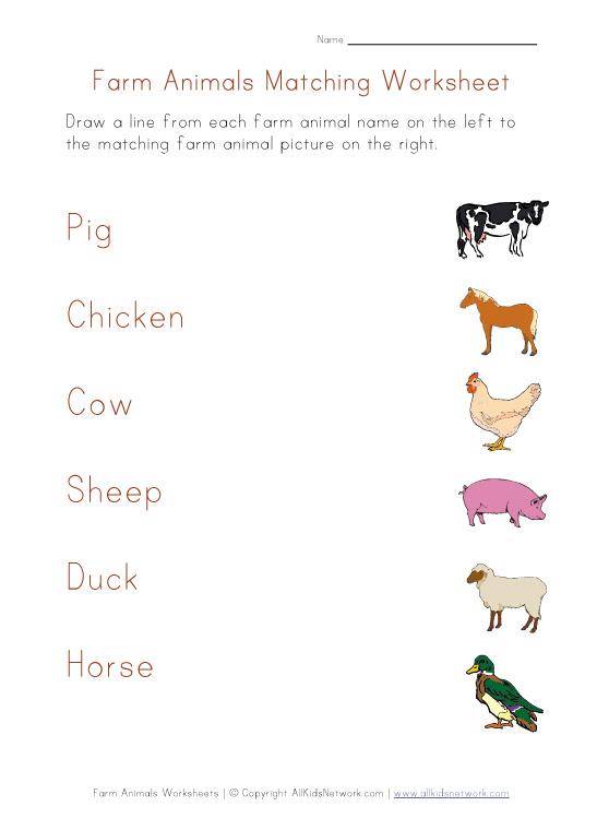 farm animal word recognition worksheet
