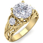 2 1/4 Carat Round Shape Diamond Intricate Vine Engagement Ring in 14K Yellow Gold (6 g) (, SI2-I1), Size 5.5 by SuperJeweler